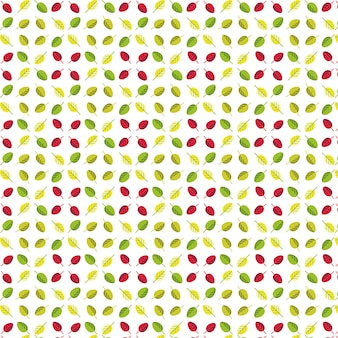 Simple seamless pattern of green, yellow and red  leaves