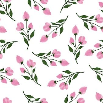 패브릭 디자인을 위한 핑크 꽃 봉오리의 간단한 원활한 패턴