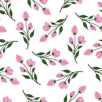 Simple seamless pattern of pink flower buds for fabric design
