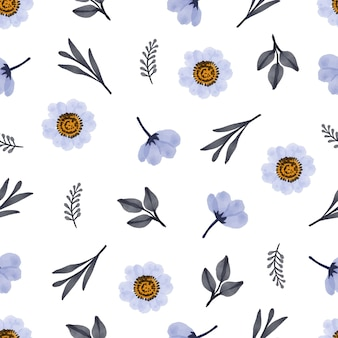 Simple seamless pattern of white flower and bud for background and fabric design