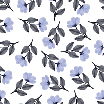 Simple seamless pattern of white flower and grey leaves for fabric design