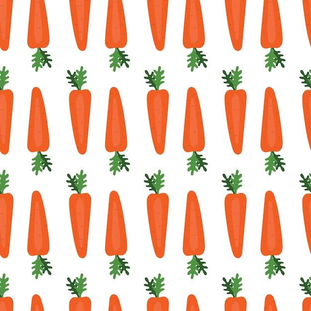 당근과 함께 간단한 완벽 한 패턴입니다. 야채, 비타민, 채식주의, 건강한 식생활, 다이어트, 간식, 수확. 평면 스타일의 그림