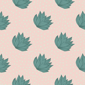 Simple seamless pattern with hand drawn bush leaves. light pink background with dots and green outline foliage.