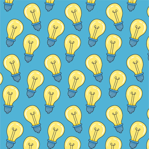 Simple seamless pattern with hand light bulb