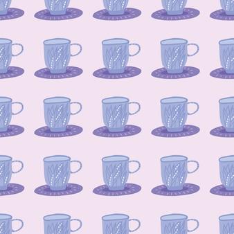 ハーブティーカップシルエットのシンプルなシームレスパターン。明るいピンクの背景に青い飾り。様式化されたプリント。壁紙、テキスタイル、包装紙、布プリントに最適です。図。