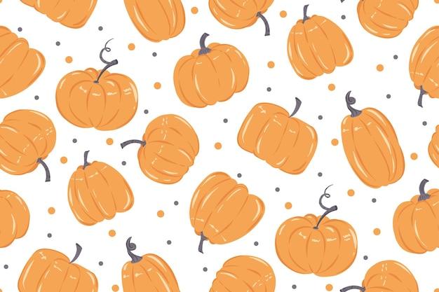 흰색 바탕에 오렌지 호박과 간단한 원활한 패턴