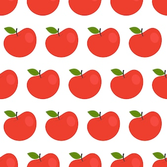 Simple seamless pattern with red apples. fruits, vitamins, vegetarianism, healthy eating, diet, snacking, harvesting. illustration in flat style
