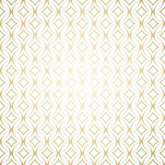 Простой бесшовный узор с круглыми формами, линейный золотой арт-деко белого и золотого цветов
