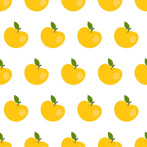 Simple seamless pattern with yellow apples. fruits, vitamins, vegetarianism, healthy eating, diet, snacking, harvesting. illustration in flat style