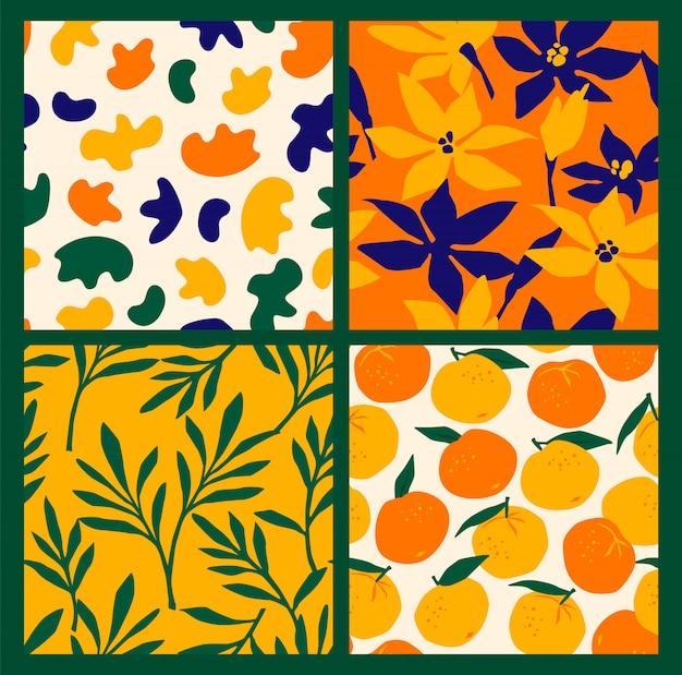 Простые бесшовные модели с абстрактными цветами и апельсинами. Premium векторы