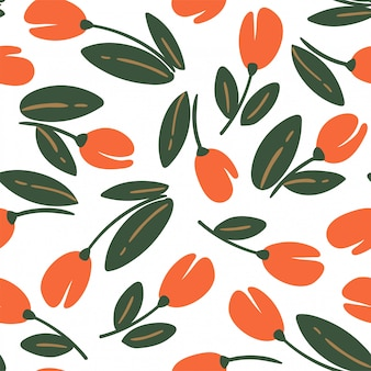 Simple seamless vector pattern with flowers