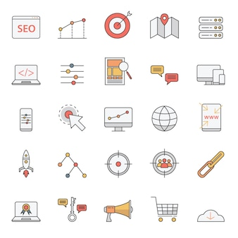 Simple seo icons set for website