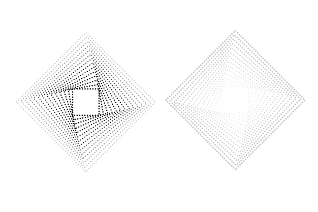 Simple set, 2 style vector black and white square halftone, isolated on white