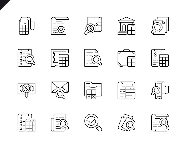 Simple set of accounting related vector line icons.