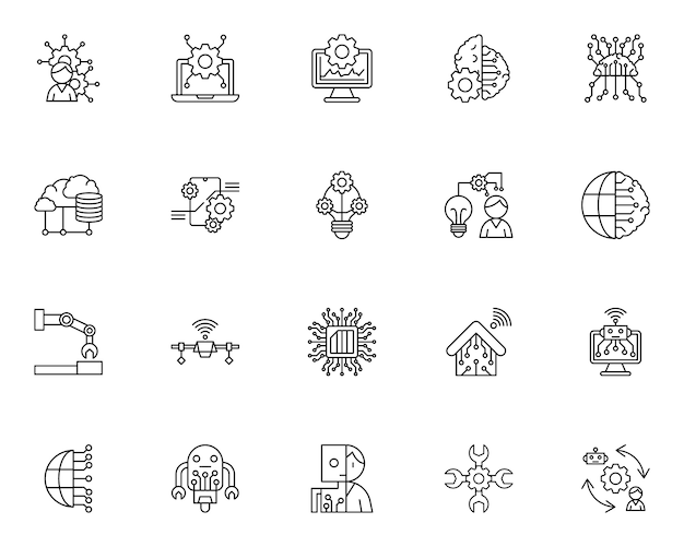 Simple set of artificial intelligence related icons in line style