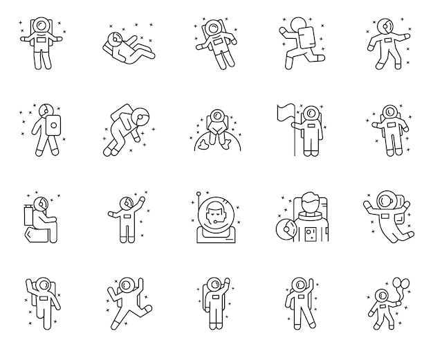Simple set of astronauts related vector line icons