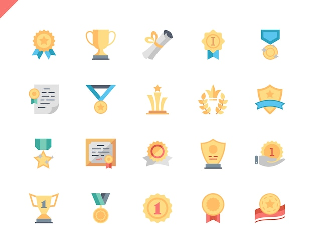 Simple set awards flat icons for website and mobile apps.