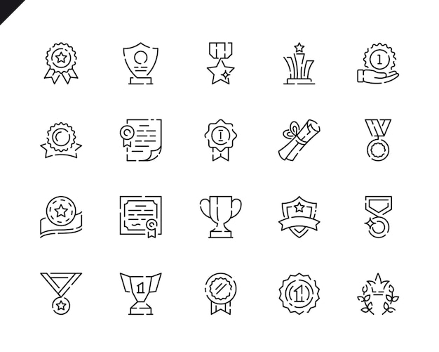 Simple set awards line icons for website and mobile apps.