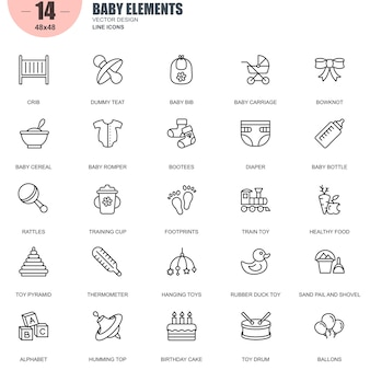 Simple set of baby elements related vector line icons