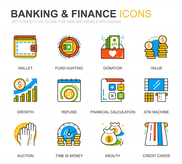 Простой набор иконок банковской и финансовой линии для веб-сайта