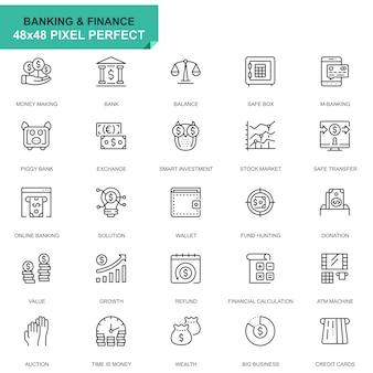 Иконки простого набора банковских и финансовых линий