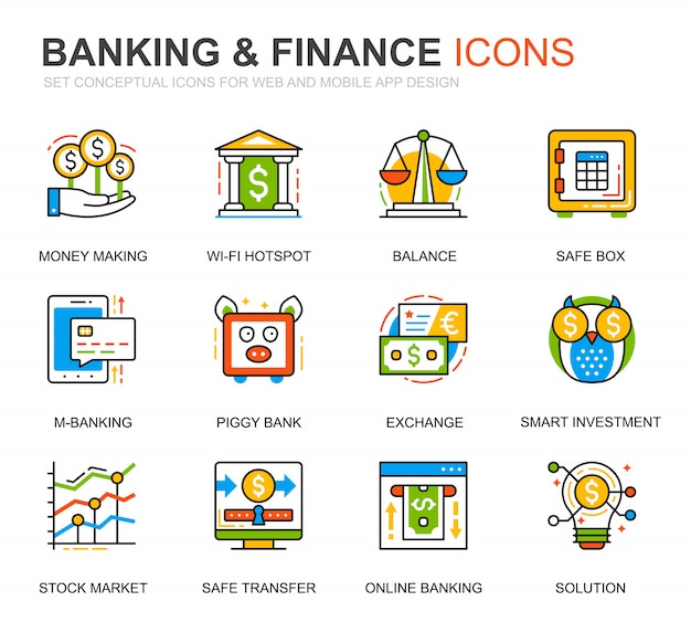 Simple set banking and finance line icons for website