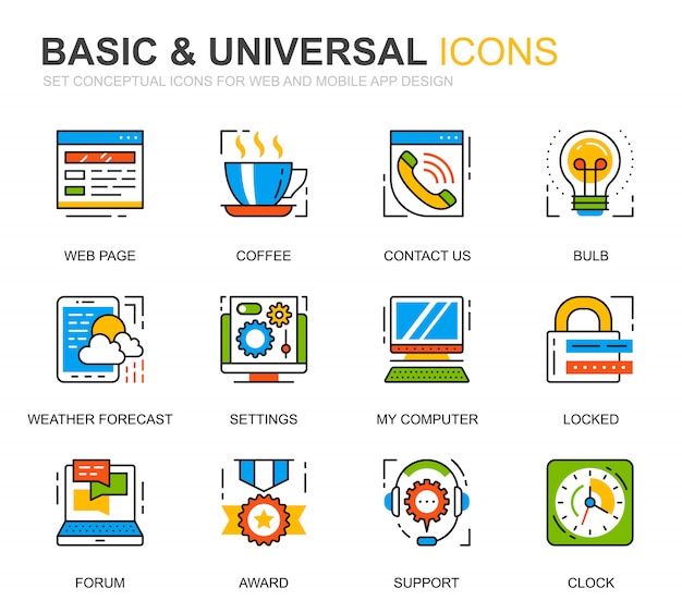 Simple set basic line icons for website