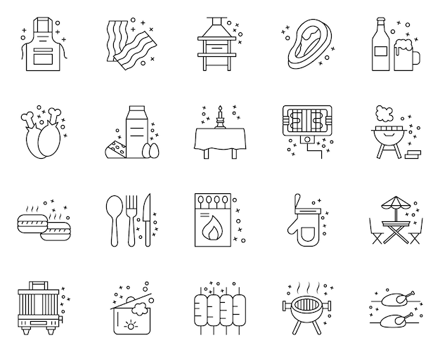 Simple set of bbq party related icons in line style