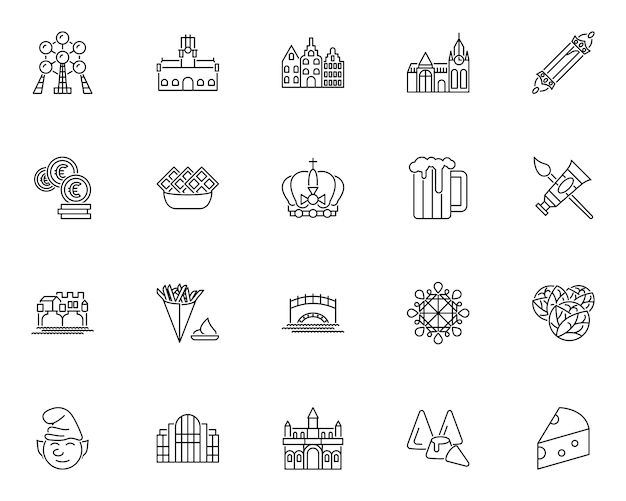 Simple set of belgium culture related icons in line style