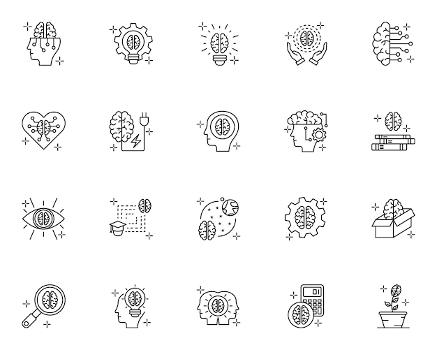 Simple set of brain concept related icons in line style