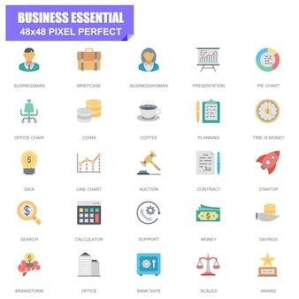 Simple set of business essential related vector flat icons