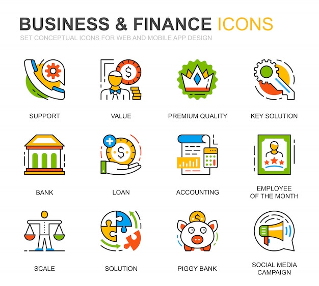 Simple set business and finance line icons for website