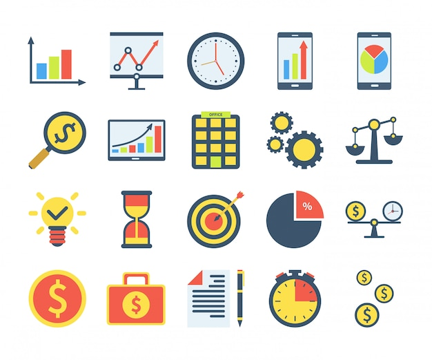 Simple set of business icons in flat style. contains such icons as pie chart, investment search, time is money, teamwork and more.