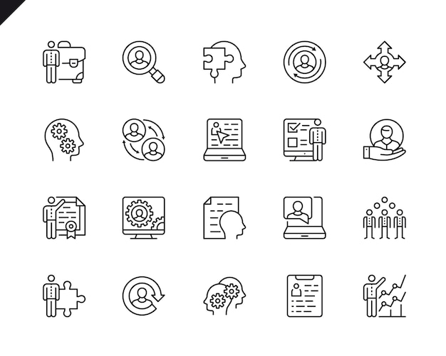 Simple set of business management related vector line icons.