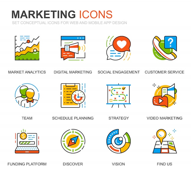 Simple set business and marketing line icons for website