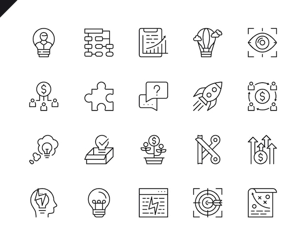 Simple set of business startup related vector line icons.