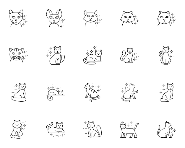 Simple set of cat related icons in line style
