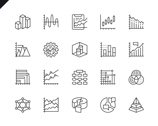 Simple set of charts and diagrams related vector line icons.