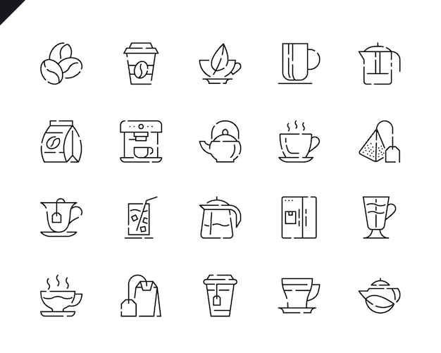 Simple set coffee and tea line icons