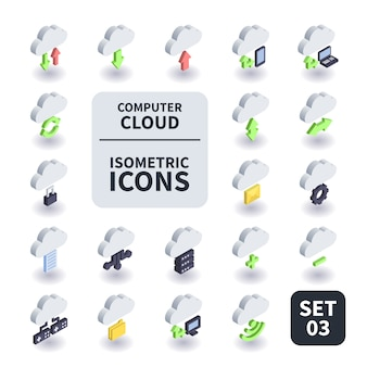 Simple set of computer cloud icon.