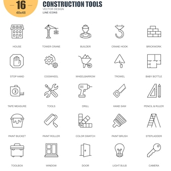 Simple set of construction tools related vector line icons