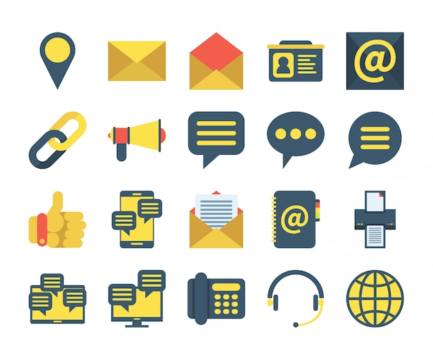 Simple set of contact us icons in flat style. contains such icons as location, address book, message, support and more.