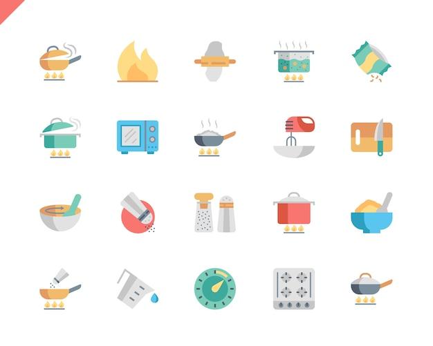 웹 사이트 및 모바일 애플 리 케이 션에 대 한 간단한 설정 요리 플랫 아이콘.