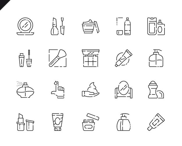 웹 사이트 및 모바일 애플 리 케이 션에 대 한 간단한 설정된 화장품 라인 아이콘.