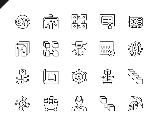 Simple set of cryptocurrency related vector line icons.