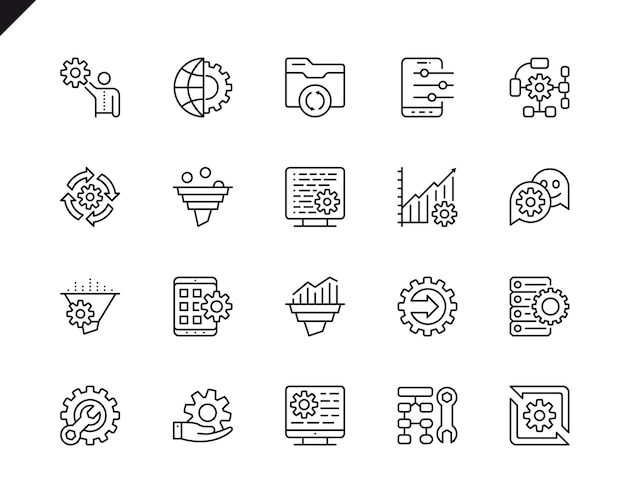 Simple set of data processing related vector line icons.