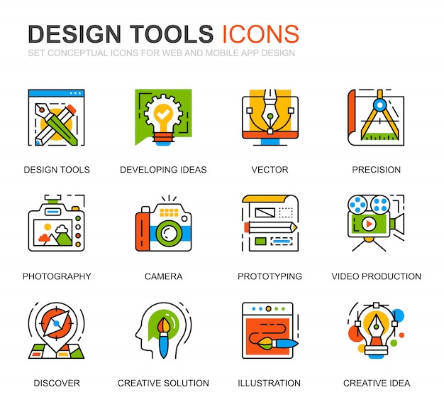 Simple set design tools line icons for website