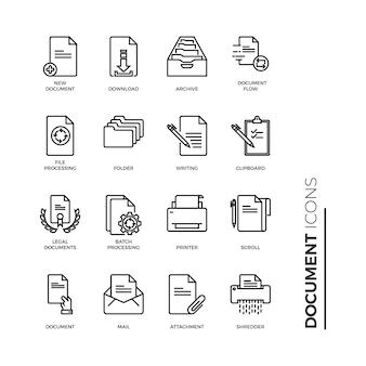 Simple set of document icon, related vector line icons