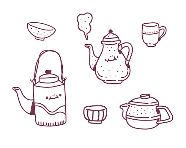 Simple set  doodle style . cup of tea drawing style