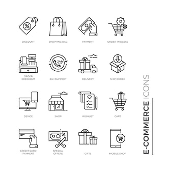 Simple set of e-commerce icon, related vector line icons